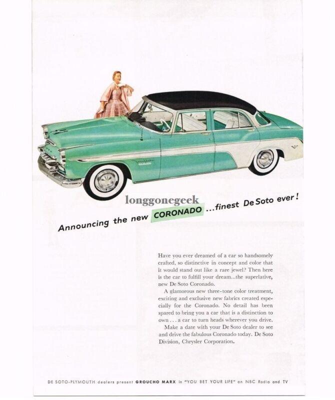 1955 DeSoto Coronado Automobile Car Vintage Print Ad