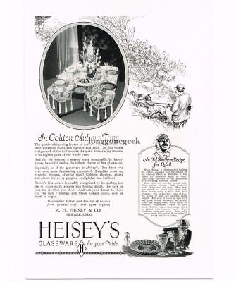 1926 Heisey Glassware Hunter with dogs art Quail Recipe Vintage Print Ad