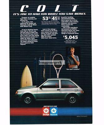 1984 Dodge Plymouth Colt Silver Hatchback Vtg Print (1984 Dodge Colt)