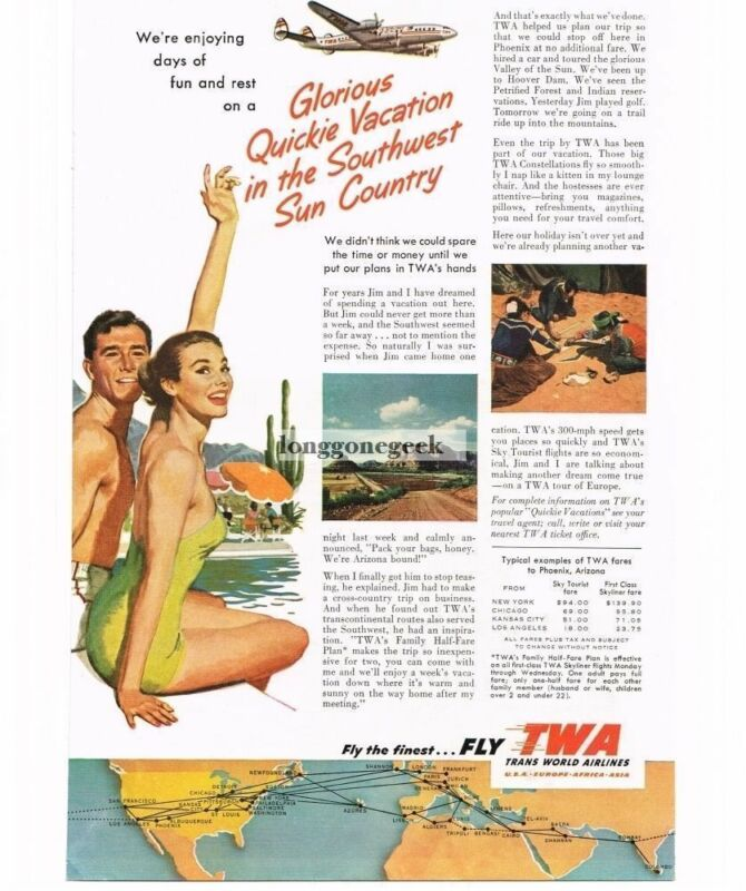 1953 TWA Trans World Airlines Man Woman at Pool art Vintage Print Ad