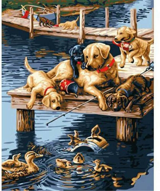 Paint by Numbers Kits DIY Oil Painting Home Decor Wall Value Gift-Puppies and