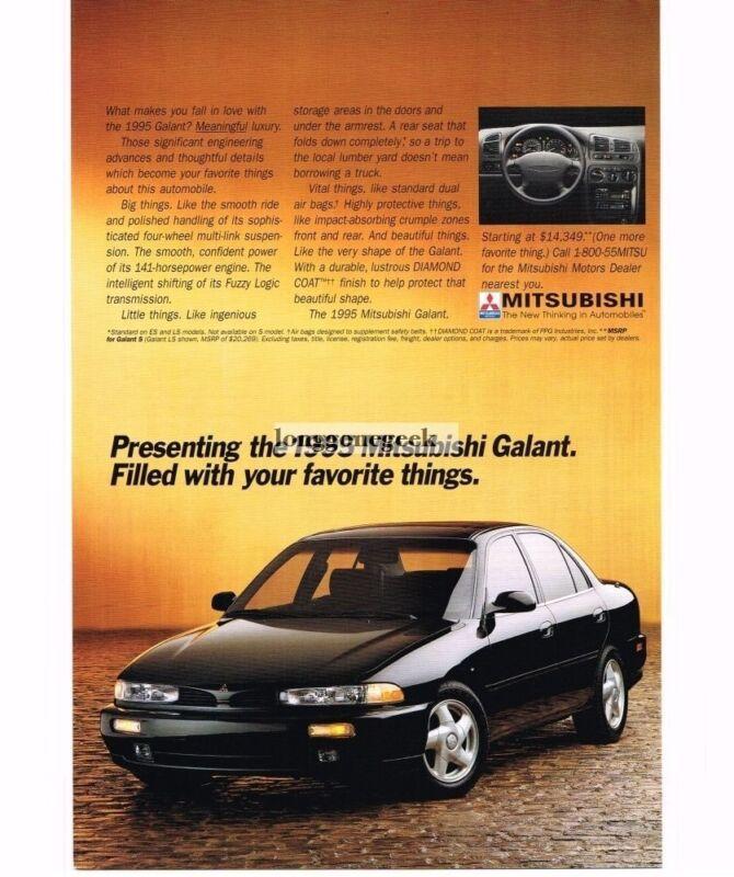 1995 Mitsubishi GALANT Black 4-door Sedan Vintage Print Ad