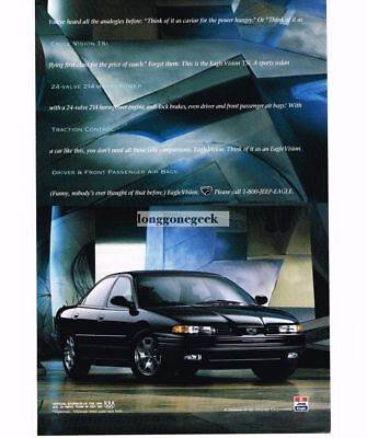 1994 Jeep EAGLE Vision TSi Black 4-door Sedan Vtg Print Ad (Jeep Eagle Vision)