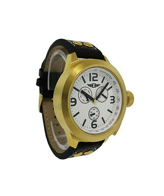 I by Invicta IBI70113-001 Men's Round Analog Snow-white Day Date Black Leather Watch