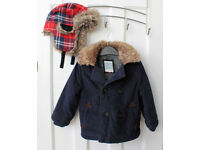 Boys dark blue boys winter coat, for age 18 month to 2 years, John Lewis, in excellent condition