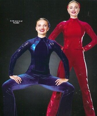 Flash Dance Costume Red Velvet Pants & Top Tap Jazz New Clearance Adult X-Large