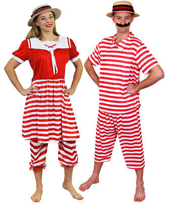 COUPLES 1920S BATHER COSTUME VICTORIAN BATHING SUIT SWIMSUIT FANCY DRESS OUTFIT - 1920s Outfits Men