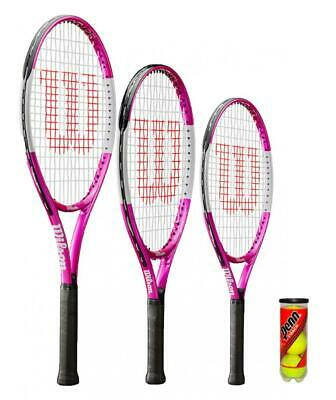 Wilson Ultra Pink Junior Tennis Racket + 3 Tennis Balls (Various Size Options)