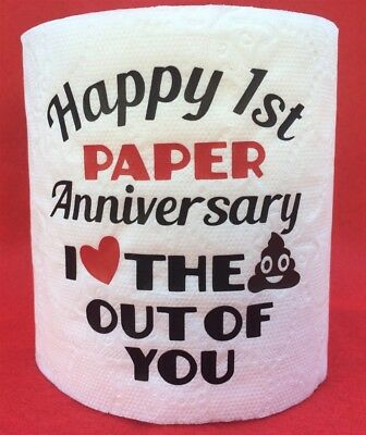 FIRST 1ST PAPER ANNIVERSARY LOVE THE POOP OUT OF YOU GAG GIFT TOILET PAPER~EMOJI