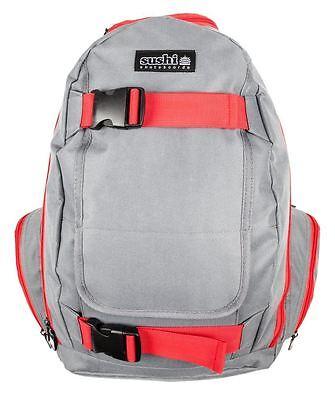 Sushi Skateboard/Skate Holder School Backpack/Bag/Carrier/Rucksack - Grey/Red