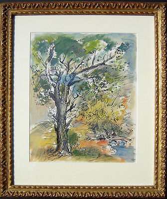 1941 JON CORBINO Central Park INK gouache GOLD LEAF frame and NEW Matting