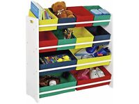 4 Tier Storage Unit for childrens toys includes trays