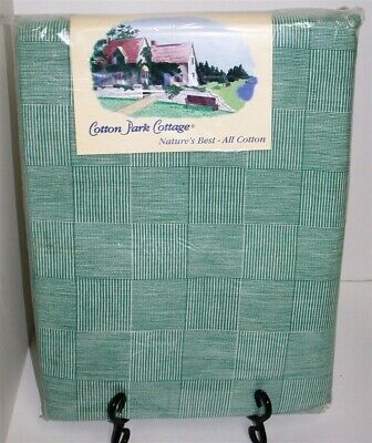 """Cotton Park Cottage Tablecloth ~ Green White Plaid ~ 60"""" x 84"""" Oval **NEW**"""
