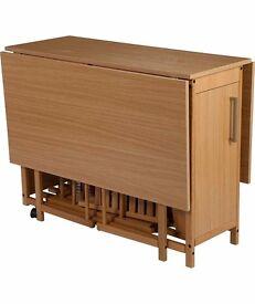 Oak effect space saving table