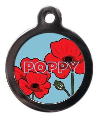 Katze Custome (Cute Custom Poppy Pet ID Tags - Flower Pet Dog Cat Name Tag - Personalised FREE)
