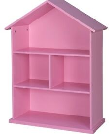 Pink dolls house bookcase - bnib