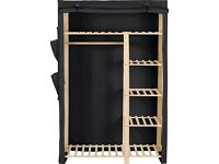 Almost New: HOME Polycotton and Pine Double Wardrobe - Black