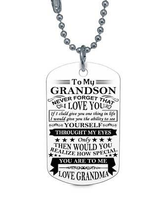 To My Grandson Forget Love Grandma Dog Tag Birthday Graduation Gift Military