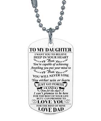 To My Daughter Love Dad Believe Dog Tag Birthday Graduation Gift Military Navy