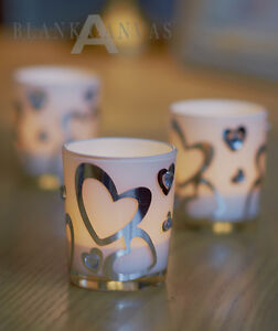 Set-of-2-TEALIGHT-Candle-HOLDERS-heart-shaped-faux-jewel-white-frosted-glass