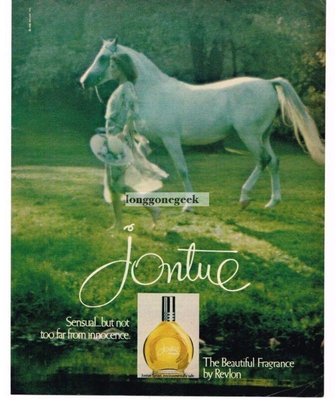 1980 Jontue Perfume Revlon Woman with White Horse Soft-Focus Vintage Ad