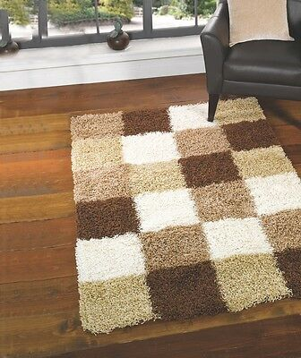 LARGE THICK BROWN BEIGE IVORY WHITE SHAGGY MODERN RUG BLOCKS SQUARES 120x160cm - Ivory Square Teppich