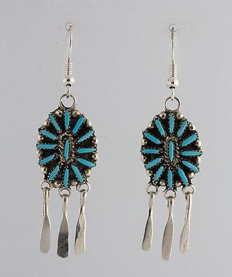 Zuni Native American Sterling Silver Turquoise Cluster Chandelier Earrings