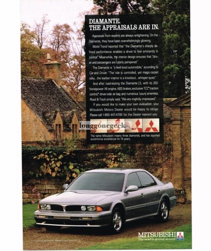 1992 Mitsubishi DIAMONTE LS Athens Silver 4-door Sedan Vintage Ad