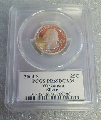 2004 S Silver 25C WISCONSIN State Quarter PCGS PR69DCAM - Free Shipping  ^ for sale  Bayonne