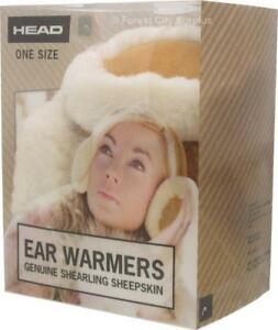 NEW DELUX SHEARLING SHEEPSKIN EARMUFFS - ATTRACTIVE EAR WARMERS - AMAZING SURPLUS PRICES!!!