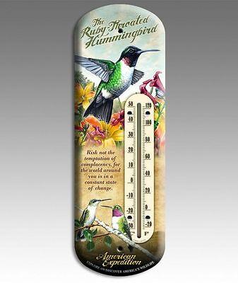 "Wildlife Back Porch Tin 4"" x 11 3/4"" Hummingbird Thermometer Indoor/Outdoor"