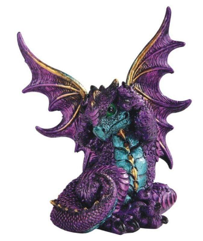 Purple Dragon Covering Its Ears Medieval Fantasy Figurine Sculpture Decoration