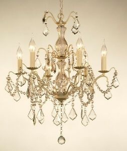 Caprice French Vintage Style Antique Ivory 3 Tier 6 Arm Cut Glass Chandelier
