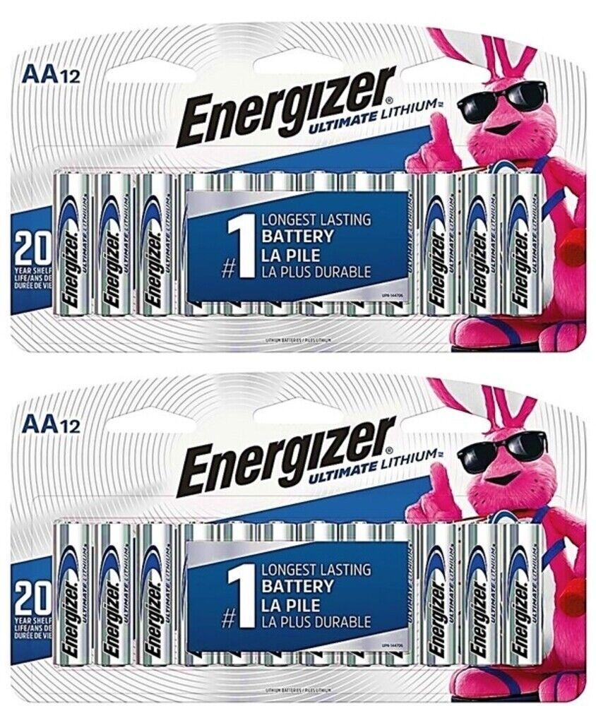AA Energizer Ultimate Lithium L91 1.5V 24 Batteries In Original Box