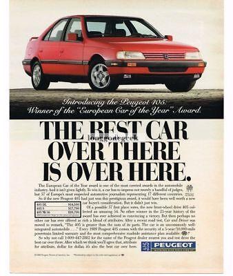 1989 Peugeot 405 Automobile Car Vtg Print Ad