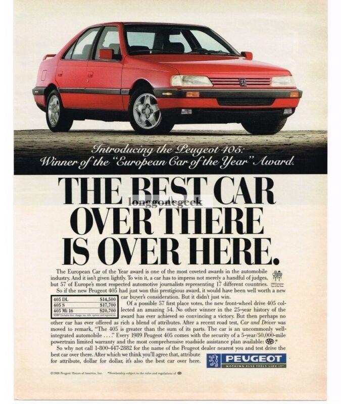 1989 Peugeot 405 Automobile Car VINTAGE Print Ad