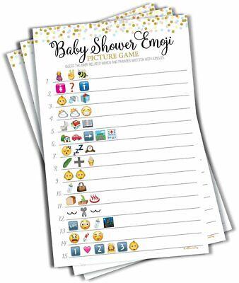 Baby Shower Emoji Picture Game - Baby Shower Game Gender Neutral 50-sheets - Game Emoji