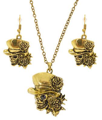 Day of the Dead Halskette mit Ohrringen Gold Zubehör Kostüm Schmuck Set - Kostüm Schmuck Gold Ringe