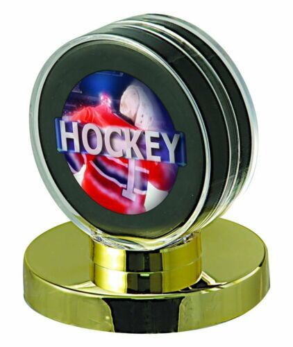 Ultra Pro Hockey Puck Holder, Gold Base Sports Collectible Cases-new In Box