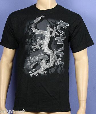 Bedruckte T-Shirt Drago Japanisch Shenlong Schriftzeichen Schwarz Wmb03