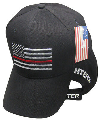 USA American Thin Red Line Fire Fighters Matter Black Embroidered Cap Hat