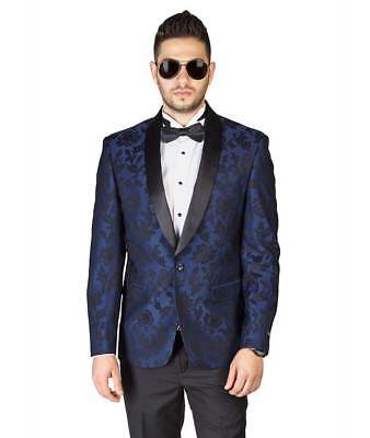 Blue Floral Shawl Satin Lapel Jacket Only Tuxedo Slim Fit 1 Button Blazer AZAR