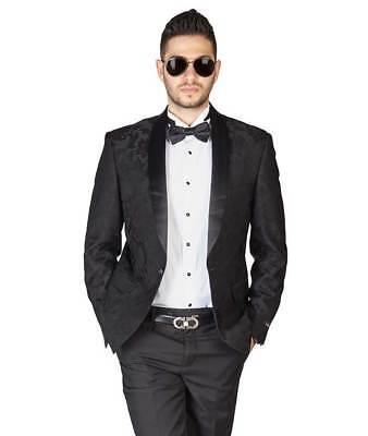 Black Floral Shawl Satin Lapel Jacket Only Tuxedo Slim Fit 1 Button Blazer AZAR ()