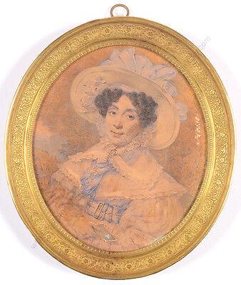 "Henri Joseph Hesse (1781-1849) ""Portrait of a lady in large straw hat"""