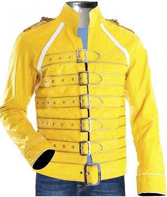 ow Concert Queen's Mens Yellow Halloween Faux Leather Jacket (Freddie Mercury Halloween)