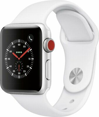 NEW Apple Watch Series 3 38mm GPS + Cellular Watch Silver White MTGG2LL/A
