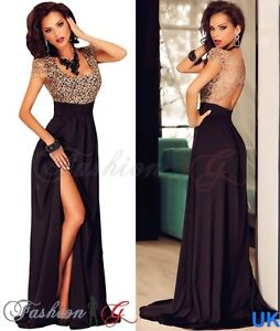 Womens Evening Dress Maxi Black Ball Gown Prom Party Formal Long Lace Size 12 14