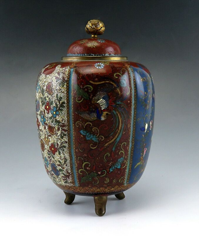 Antique c1900 Meiji Japanese Bronze Metal Cloisonné Enamel Urn Covered Jar