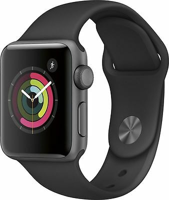 New Apple Watch Series 2 42Mm Space Grey Aluminum Black Sport Band Mp062ll A