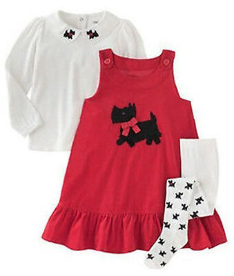 Gymboree Girls 3 Piece Red Corduroy Jumper Dress with Tights and Top Scottie Dog